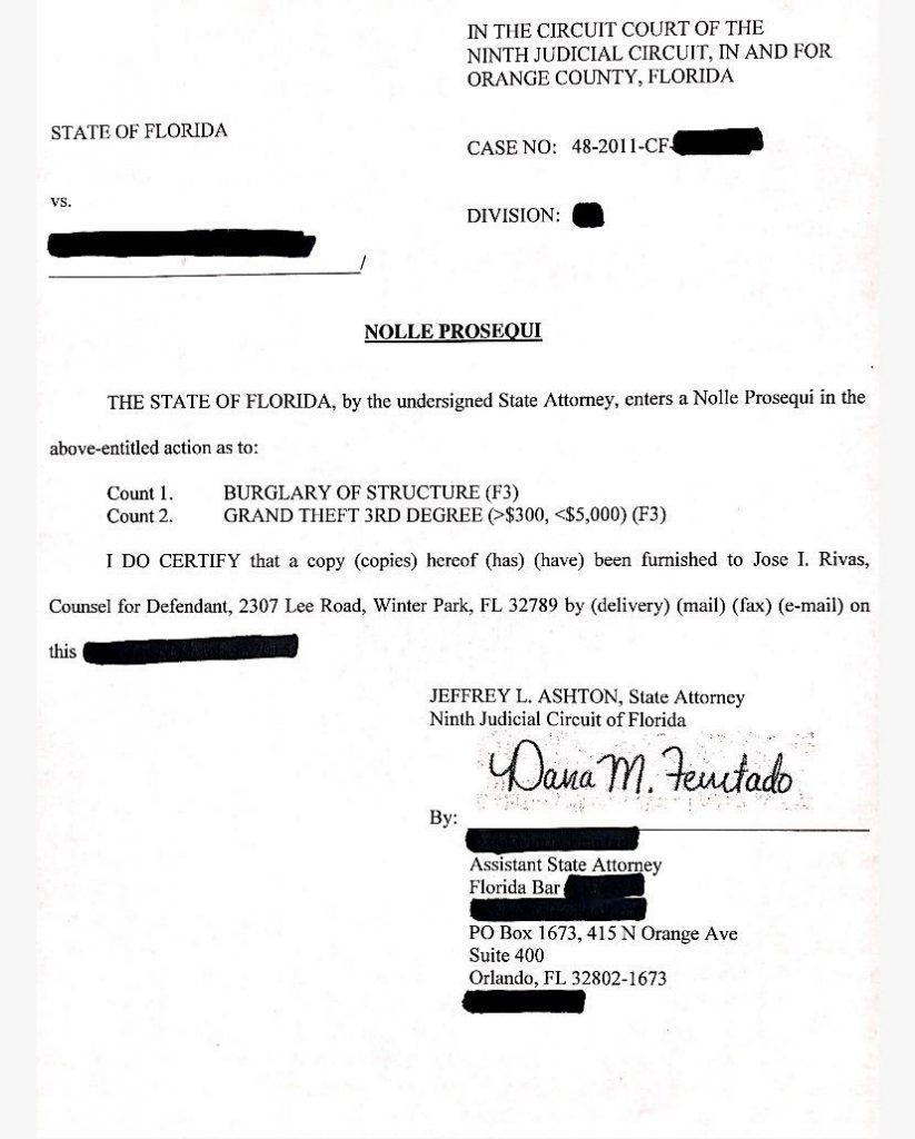 burglary charges 3erd dismissed